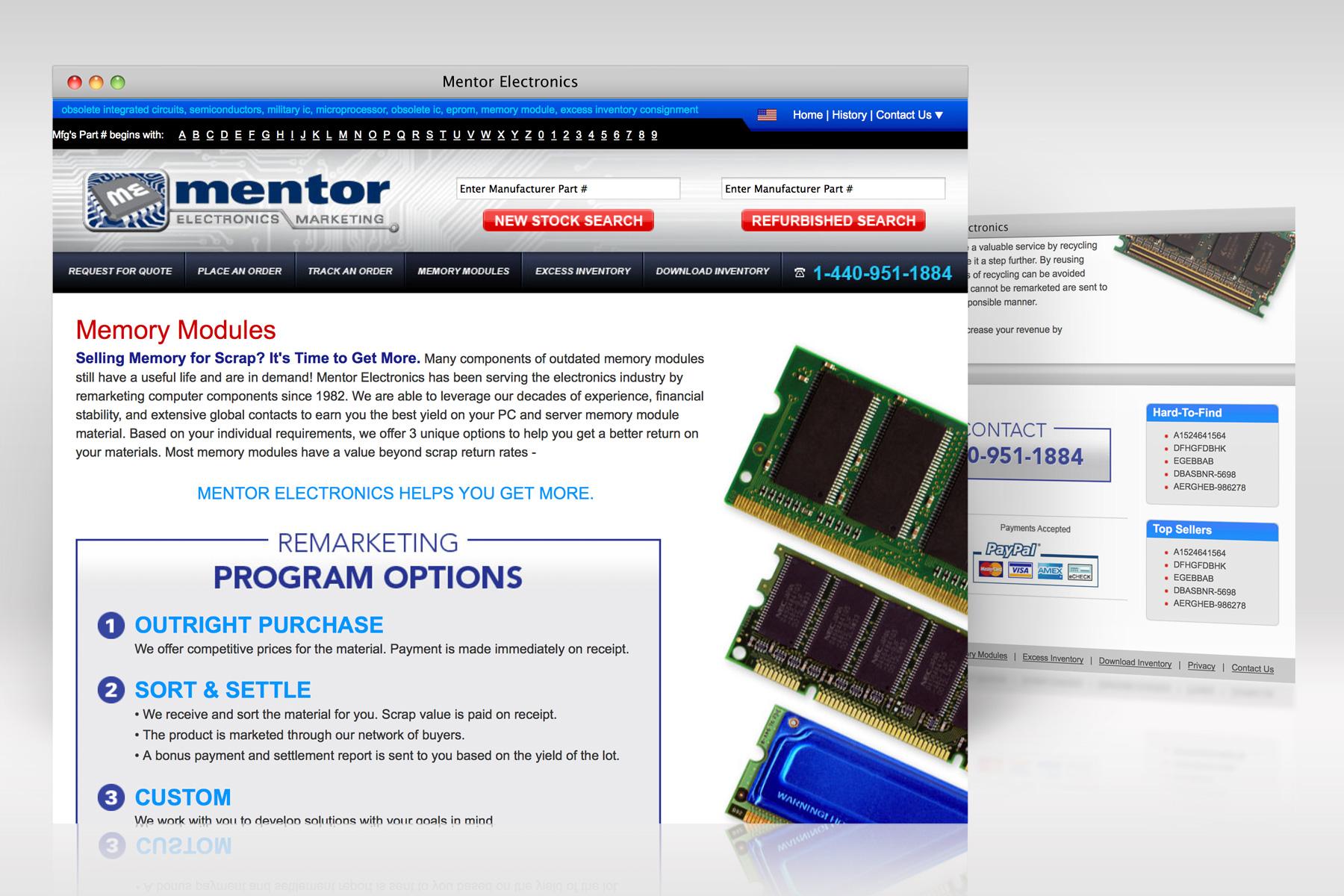 Mentor Electronics web design 2